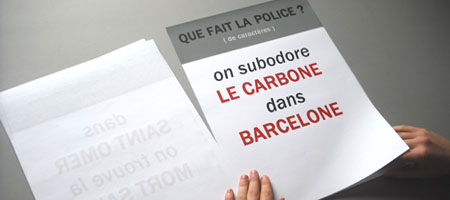 image, affiche anagrammatique,on subodore LE CARBONE dans BARCELONE